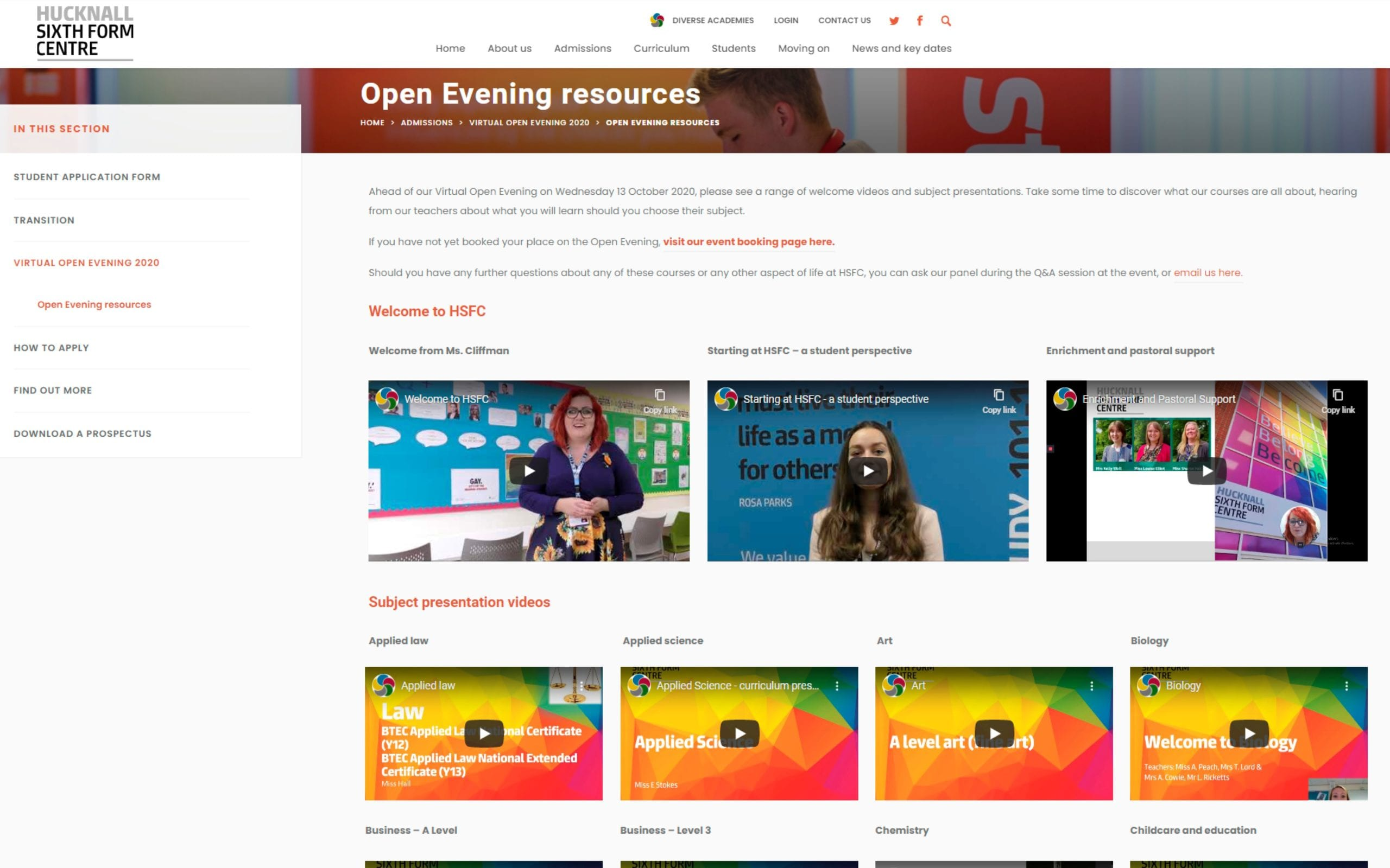 Open evening resources – now live!